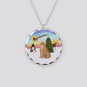 Take Off - Orange Tabby cat Necklace Circle Charm