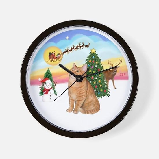 Take Off - Orange Tabby cat Wall Clock
