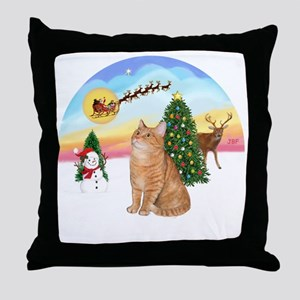 Take Off - Orange Tabby cat Throw Pillow