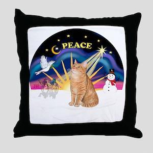 X Sunrise-Orange Tabby 46 Throw Pillow