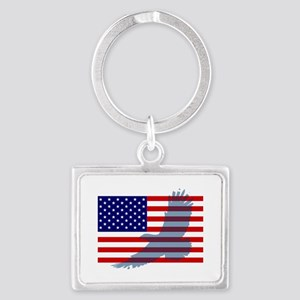 Flag  Eagle Patriot Landscape Keychain