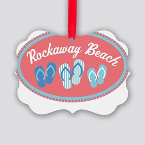 Rockaway Beach Sandal Badge Picture Ornament