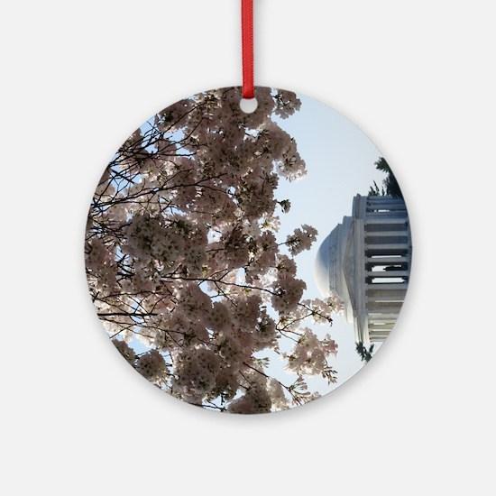 Peal bloom cherry blossom frames Je Round Ornament