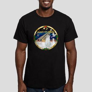 W-gold-XmasDove-Cat-SH Men's Fitted T-Shirt (dark)