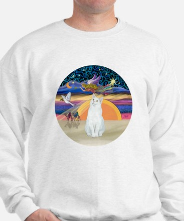 Xmas Angel-White Cat - ASH Sweatshirt
