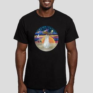 Xmas Angel-White Cat - Men's Fitted T-Shirt (dark)