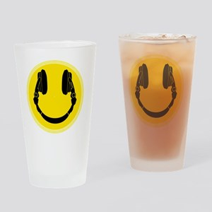 DJ Smiley Headphone Platter Drinking Glass