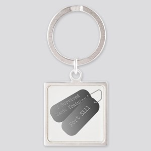 I survived basic training at Fort  Square Keychain