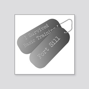 "I survived basic training a Square Sticker 3"" x 3"""