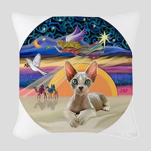 C-Angel - Sphync cat (ld) Woven Throw Pillow