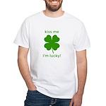 Kiss Me, I'm Lucky White T-Shirt