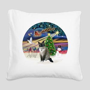 XMagic-SnowShoeCat1 Square Canvas Pillow