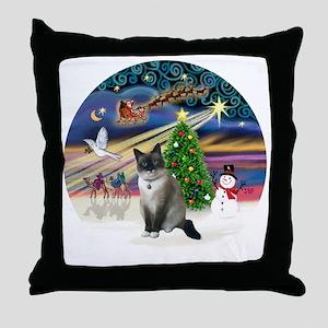 XMagic-SnowShoeCat1 Throw Pillow