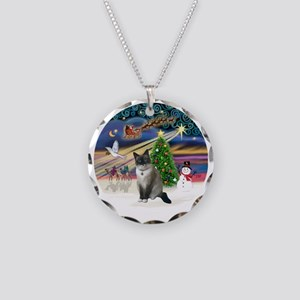 XMagic-SnowShoeCat1 Necklace Circle Charm