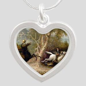 John Quidor Headless Horsema Silver Heart Necklace