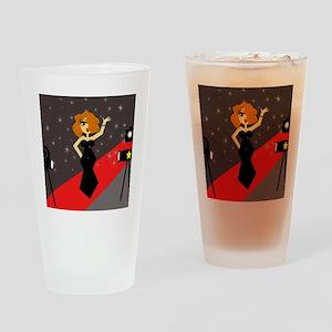 Cute Red Carpet Diva Drinking Glass