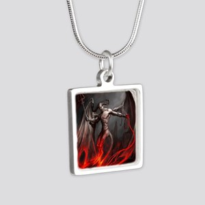 Demon Silver Square Necklace