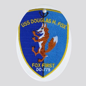 uss douglas h fox patch transparent Oval Ornament