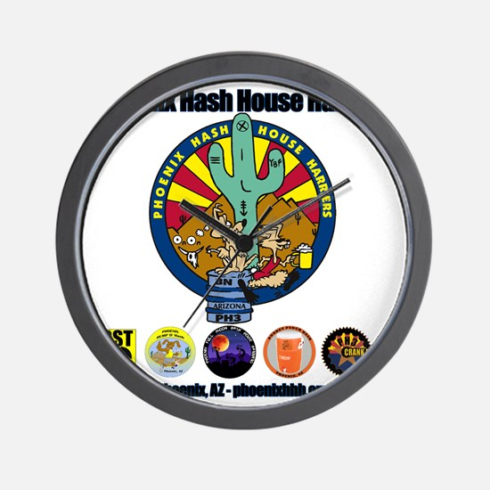 Phoenix Hash House Harriers Logos all Wall Clock