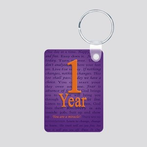 1 Year Recovery Birthday - Aluminum Photo Keychain