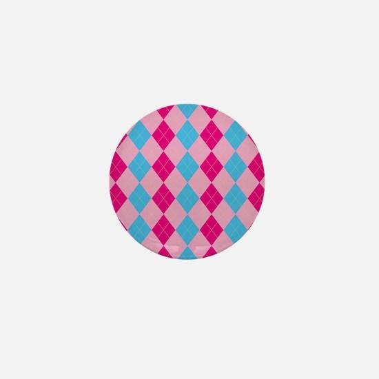 Pink and Blue Argyle Mini Button