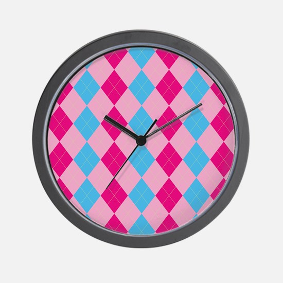 Pink and Blue Argyle Wall Clock