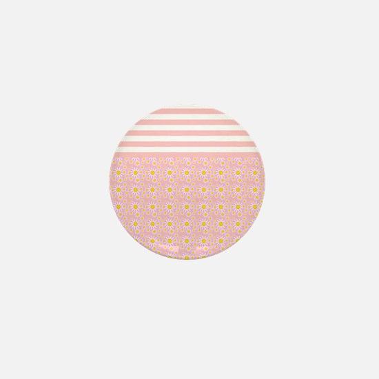 Pink Stripes and Flowers Mini Button