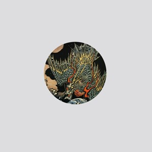 Hokusai Dragon Mini Button