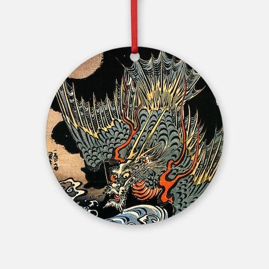 Hokusai Dragon Round Ornament