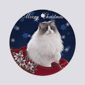 Ragdoll Cat Coaster Round Ornament