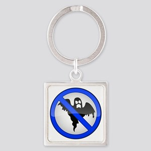 Blue No Entry Ghosts Sign Square Keychain