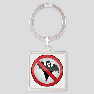No Ghosts Sign Square Keychain