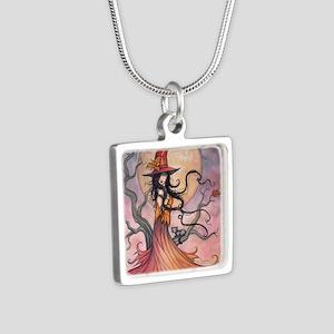 Autumn Magic Silver Square Necklace