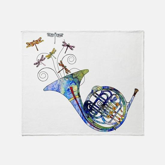 Wild French Horn Throw Blanket