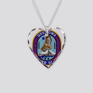 uss iowa patch transparent Necklace Heart Charm