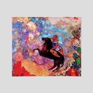 Odilon Redon Muse On Pegasus Throw Blanket