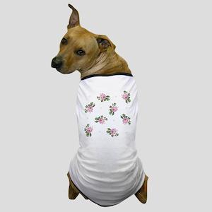 Pink Roses Floral Pattern Dog T-Shirt
