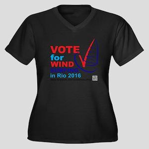 Vote for Win Women's Plus Size Dark V-Neck T-Shirt