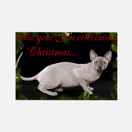 Sphynx Cat Christmas Card Rectangle Magnet