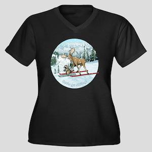 Lets go skii Women's Plus Size Dark V-Neck T-Shirt