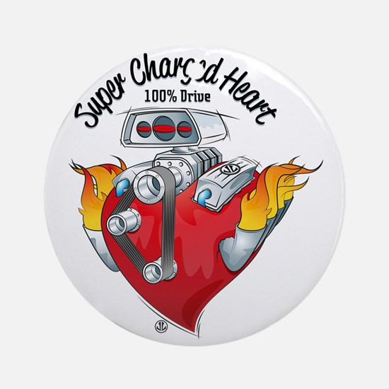 Super Charged Heart 100% Drive Round Ornament
