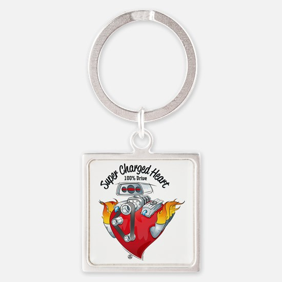 Super Charged Heart 100% Drive Square Keychain