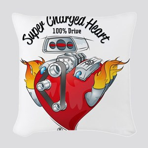 Super Charged Heart 100% Drive Woven Throw Pillow