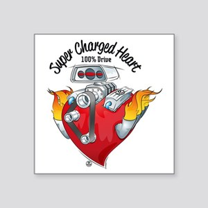 "Super Charged Heart 100% Dr Square Sticker 3"" x 3"""