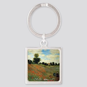 Monet Wild Poppies near Argenteuil Square Keychain