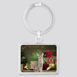 Abyssinian Cat Christmas Card Landscape Keychain