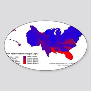 Federal Income Tax/Spending Map Sticker (Oval)