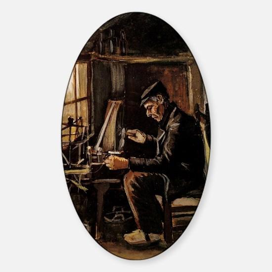 Van Gogh Man Winding Yarn Sticker (Oval)