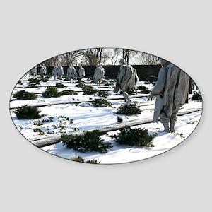 Korean war memorial veterans statue Sticker (Oval)