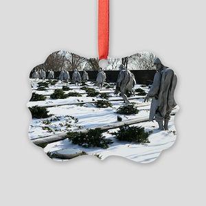 Korean war memorial veterans stat Picture Ornament